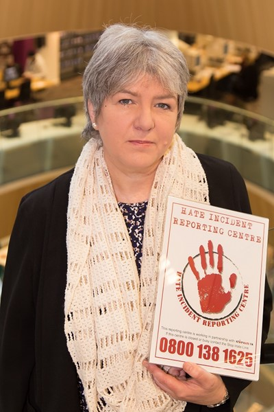 Jane Kennedy with a Stop Hate UK poster