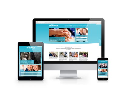 A computer, phone and tablet showing the Victim Care Merseyside website